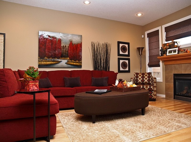 Chic red living room furniture ... the red couch becomes an instant focal point in the room [design: yerpuku